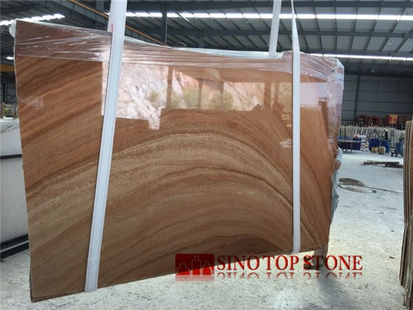 Custom China Teak Wood Marble Polished slab (11)
