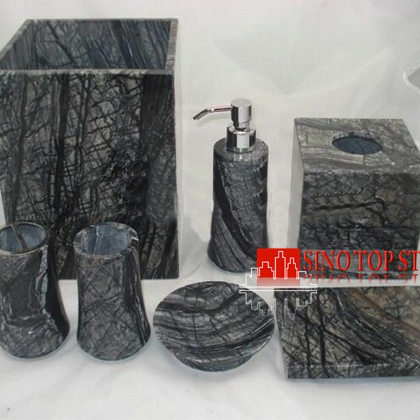 black marble hotel bathroom accessories