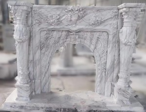white marble fireplace STS-0803
