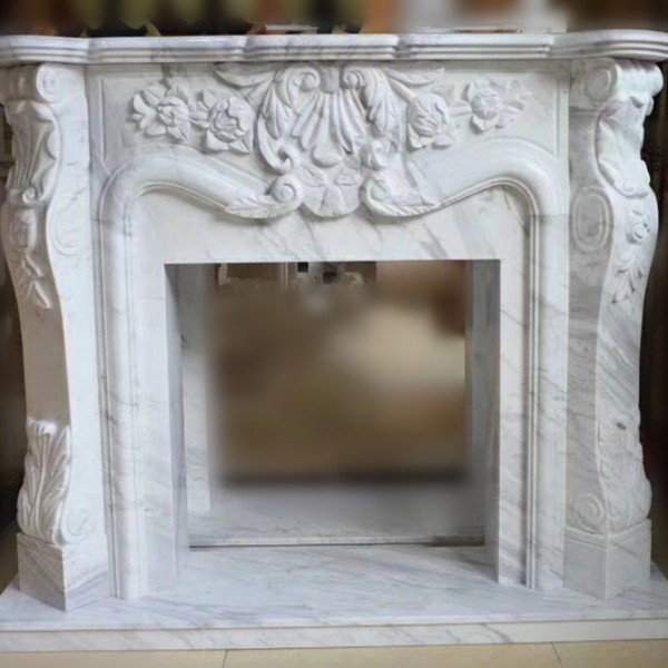 white marble fireplace STS-0804