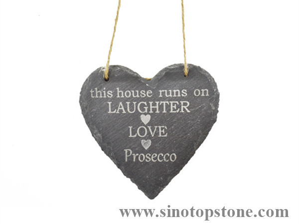 Slate hanging heart decoration with Jute Hanger