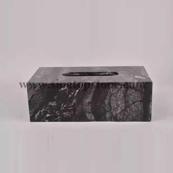 Ancient Wood Grain Marble Texture Tissue Box Holders, Decorative Tabletop Tissue Box Cover (4)