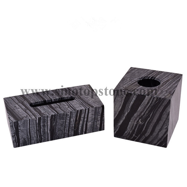 Ancient Wood Grain Marble Texture Tissue Box Holders, Decorative Tabletop Tissue Box Cover (7)