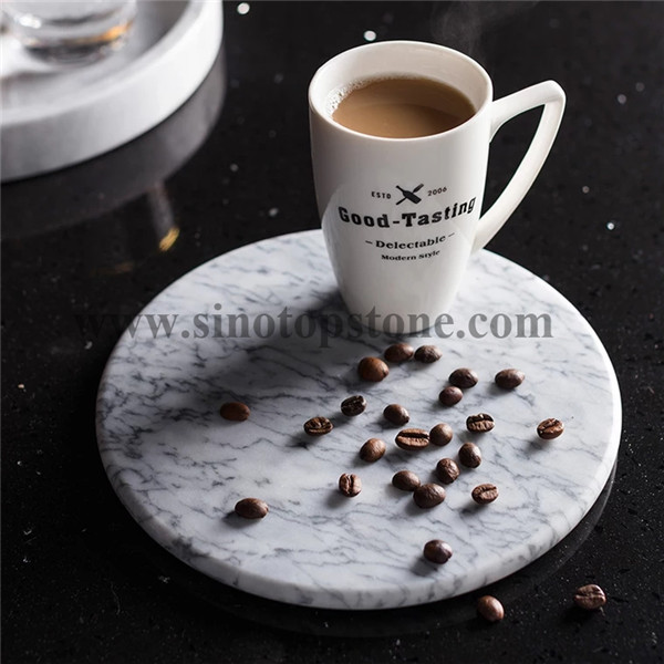 Cake Stand Carrara Marble Base round Serving Tray (2)