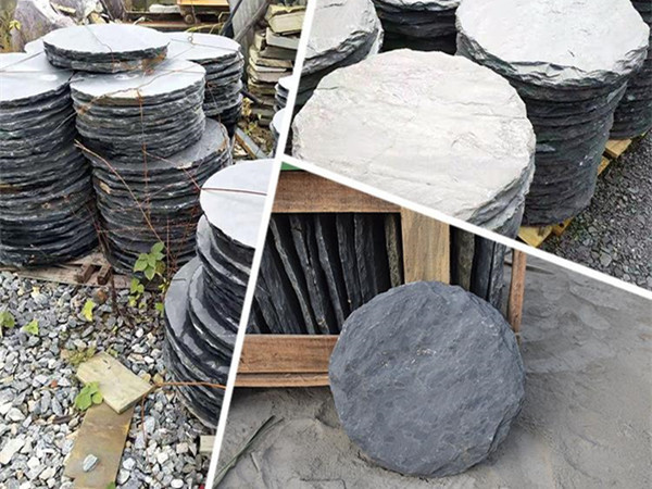 China Black slate round slate stepping stones -xmsinotopsonte)