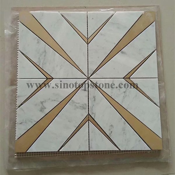 Waterjet Brass classic Inlay  Pattern White Marble Mosaic Tile