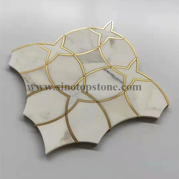 Gentle Net Waterjet Mosaic white marble and Brass