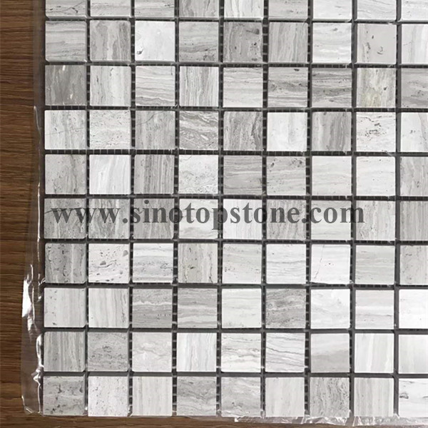 White wooden Square Mosaic Tile Polished (3)