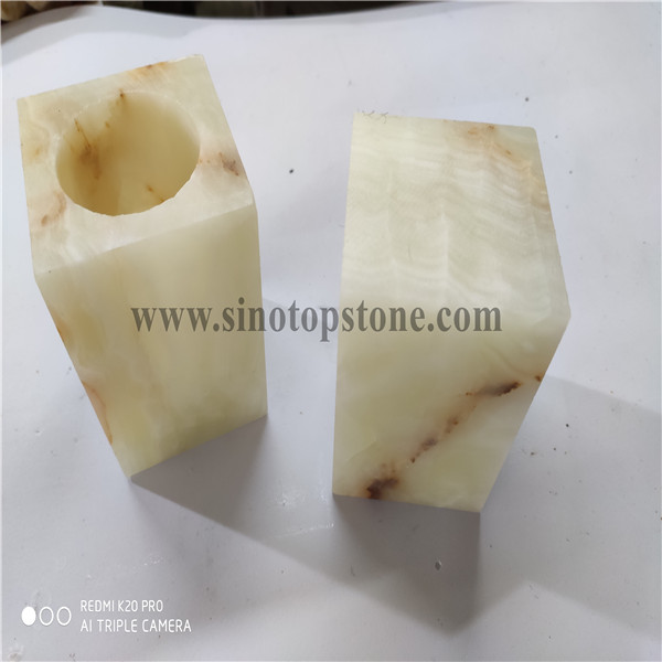 green onyx marble cuboid shape Candle holder