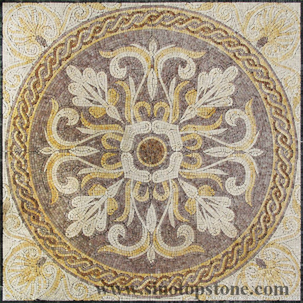 marble Mosaic Pattern Handmade Decorative Geometric wall floor Marble Mosaic Art Stone Tile (2)
