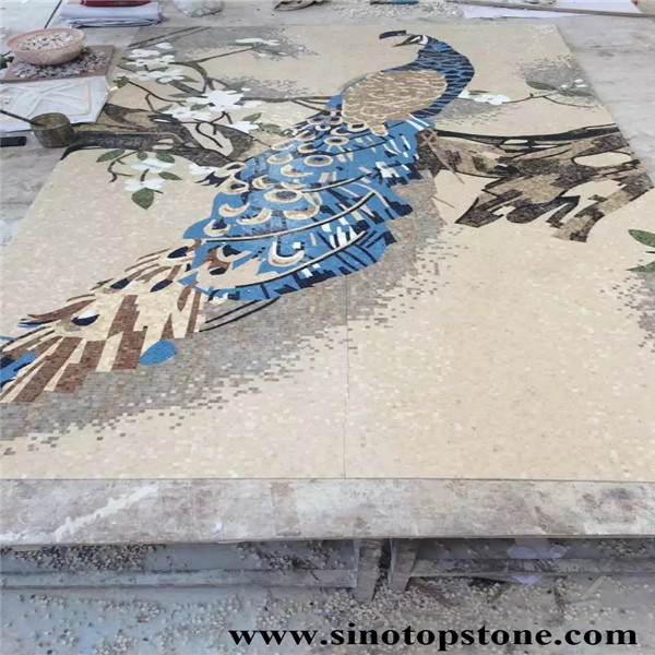 marble mosaic art peacock patter (4)