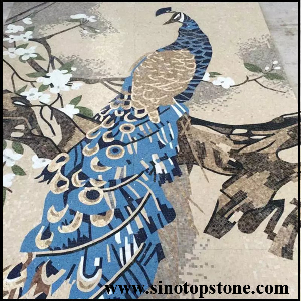 marble mosaic art peacock patter (5)