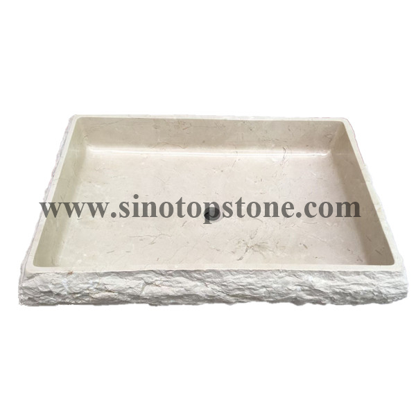 Crema Marfil Marble rectangular vessel stone sink with natural chipped surface01