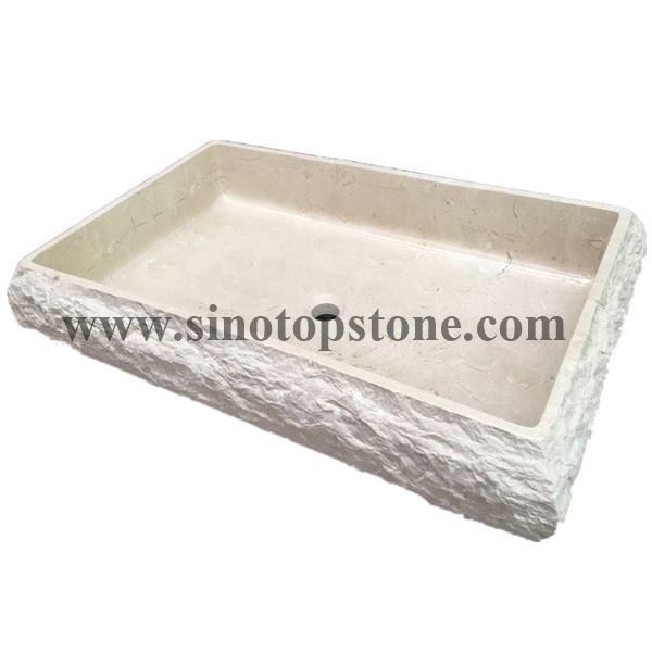 Crema Marfil Marble rectangular vessel stone sink with natural chipped surface02
