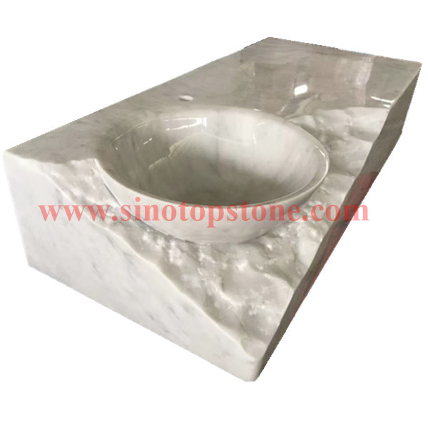 Luxury cusstom bespoke marble Bianco carrara white marble wash basin (3)