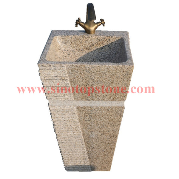Natural Stone Yellow Granite G682 Pedestal Sink for outdoor01