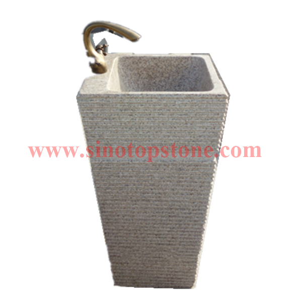 Natural Stone Yellow Granite G682 Pedestal Sink for outdoor02