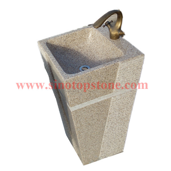 Natural Stone Yellow Granite G682 Pedestal Sink for outdoor03