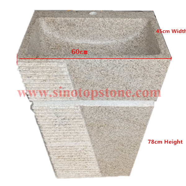Natural Stone Yellow Granite G682 Pedestal Sink for outdoor04