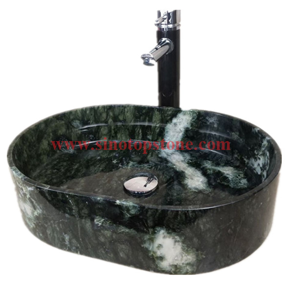 Oval Dandong Green marble Vessel Marble Stone Sink1