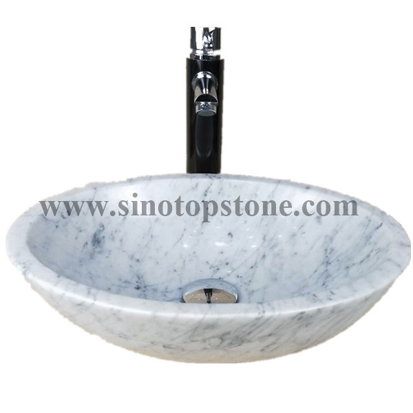 Oval White Carrara Marble Vessel Sink01
