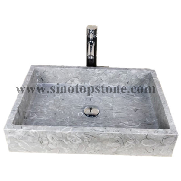 Recatangular Polished Bawang Flower Grey Marble Vesseel Sink Basin01