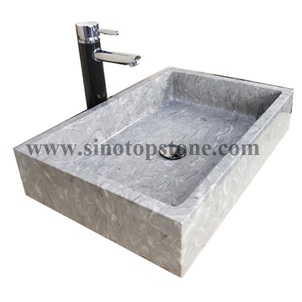 Recatangular Polished Bawang Flower Grey Marble Vesseel Sink Basin05