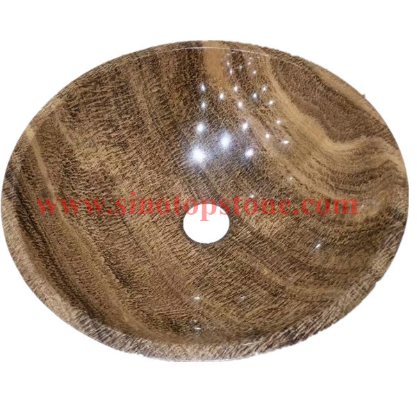 Round Bowl Bathrom hand wash basin Wood Grain Yellow Marble Vessel Sink 03