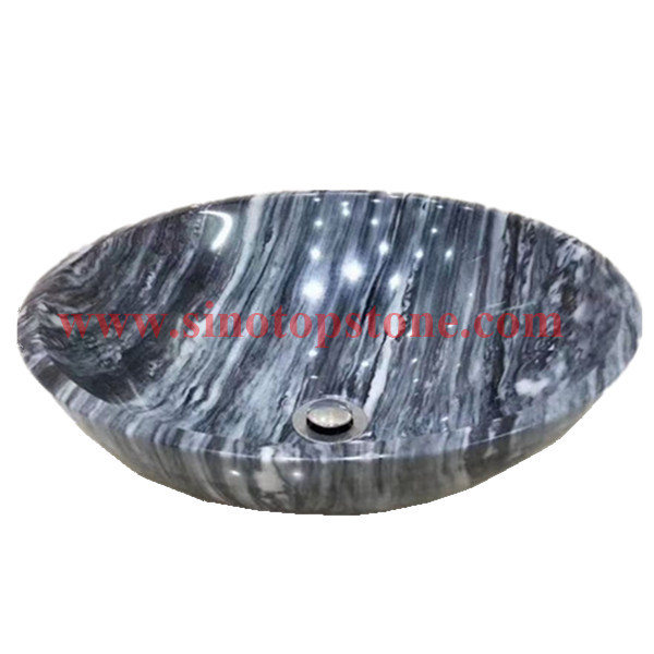 Round Polished China Cloudy Grey marble Vessel Sink basin02