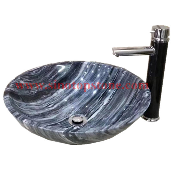 Round Polished China Cloudy Grey marble Vessel Sink basin04
