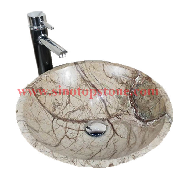 Round natural stone Vessel sink Rainforest Green marble bathromm sinks for sale01