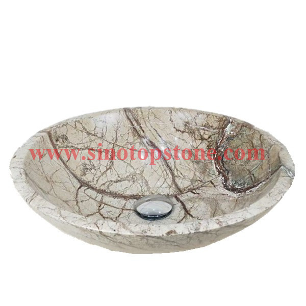 Round natural stone Vessel sink Rainforest Green marble bathromm sinks for sale02